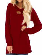 Brightly Wine Red Solid Color Oversize Sweatshirt Long Sleeves