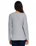 Splendid Grey V Neck Knitting Plus Size Tops Buttons Down Stretchy