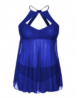 Fine Blue Plus Size Lace Babydoll Empire Waist Smooth Fabric
