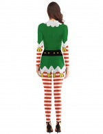 Summary Christmas Prints Bell Costume Rompers O Neck Elastic Material