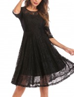 Ultra Hot Black 1/2 Sleeves Lace Skater Dress Lining Layers Contouring Sensation