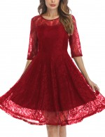 Energetic Red Invisible Zip Skater Dress Flower O Neck At Great Prices‎