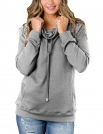 Woman Light Grey Pockets Plain Pullovers Sweatshirt Long Sleeves