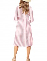 Amazing Red Single Breasted Midi Dress Pleated Stripes Home Dress