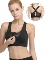Breathable Black Stitching Cut Out Sports Bra Zipper Ladies Fashion