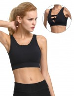 Essential Black Wireless Athletic Bra Hollow Out Splice Leisure Time