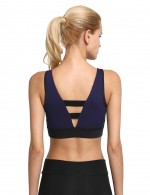 Stylish Navy Blue Padded Cups Sports Bra No Wire Patchwork For Camping