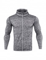 Incredible Grey Men's Reflective Strip Zipper Sports Top Large Size Best Workout