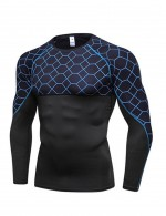 Stylish Grid Patchwork Men's Running Tops Long Sleeves Workout Apparel