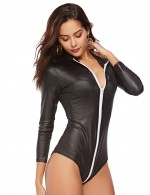 Ultra Black Front Zipper Leather Bodysuit Queen Size For Woman