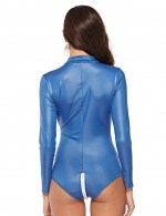 Dainty Blue High Collar Leather Jumpsuit Plus Size Super Comfortable
