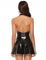 Ultra Sexy Black Halter Neck Leather Dress Large Size Lightweight