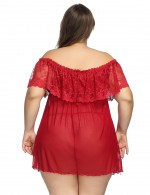 Resilient Red Mesh Big Size Nightwear With Thong Female's High Grade