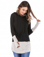 Voguish Black Long-Sleeved Hoodies With Drawstring Quick Drying