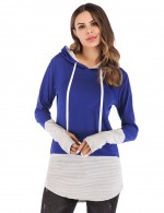 Snug Fit Blue Stitching Tops With Hat Thumb Hole Comfort Fabric