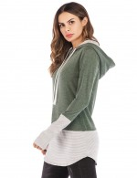 Mysterious Green With Hat Drawstring Sweatshirt Striping High Quality