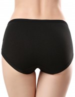 Girls Black Front Cross Pregnant Panties Solid Color Understated Design
