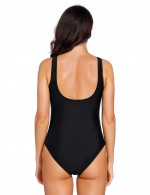 Nautically Black Front Twist One Piece Swimwear V Neck Wedding Trip