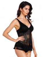 Happy Girl Black Lace Patchwork Wireless Tankinis Plunging Neck Leisure Time