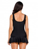 Interesting Black Ruched Flounce Bathing Suit Skirted Bottom Leisure Time