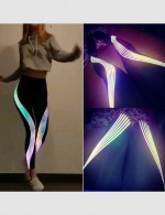 Unique Black Full Length Laser Stripe Legging High Waist For Street Snap