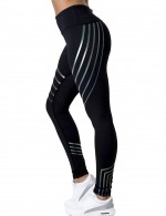 Svelte Style Black Reflective Stripe Laser Leggings Ankle Length Comfort