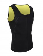 Moderate Control Black Men's Neoprene Slimmer Printed Vest Zip Closure Slim Waist