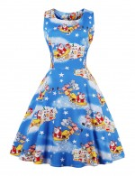 Excellent Blue Big Size Square Neck Christmas Skater Dress Zip Hot Sale