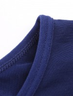 Stretched Blue Long Sleeve Men's Fitness Shirt Seamless Stretchy Fabric