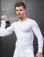 Individualistic White Full-Sleeved Men's Sporting Tops Crew Neck Free Time