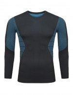 Modest Blue Knitting Seamless Sport Top Long Sleeves Comfort
