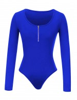 Alluring Sapphire Blue Snap Button Large Size Bodysuit Zipper Form Fitting