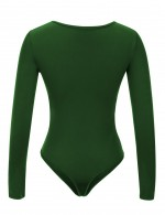 Sultry Green Pure Color Big Size Bodysuits Scoop Collar Women Outfit