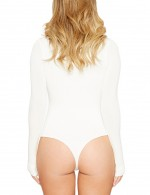 Incredible White Long Sleeved Bodysuit Pure Color Large Size Sheath