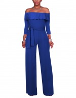 Vintage Sapphire Blue 3/4 Sleeves Ruffled Romper Ankle-Length Super Faddish
