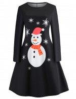 Smooth Crew Collar Swing Dress Chirstmas Snowman Print Women Outfits