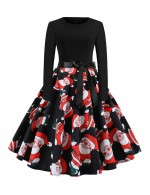 Excellent Full Sleeved Swing Dress Santa Claus Pattern Home Dress