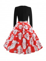 Uniquely Red Christmas Printed Skater Dress Belt Splice Womenswear