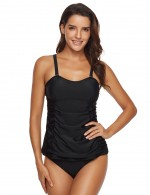 National Black Padded Ruched Two Pieces Swimsuit Solid Color Womens