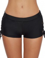 Ultra Hot Black Side Lace-Up Bikini Bottom Solid Color Elasticity