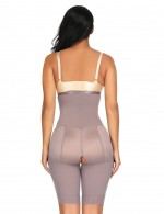 Slim Tummy Brown Plus Size Zipper Underbust Bodysuit Hooks Midsection Control