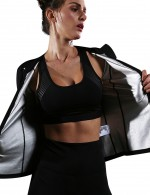 Ultra Cheap Black Big Size Reflective Zipper Sport Tops Long Sleeves