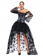 Classic Off Shoulder Floral Corset Skirt Set Flare Sleeves Good Elastic