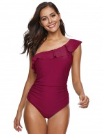 Interesting Wine Red Plain One Shoulder Bathing Suit Plus Size Leisure Time