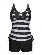 Vintage Black Big Size Striped Tankini Star Pattern Treading Water