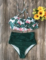 Fetching Green High Rise Ruched Beachwear 2 Pieces On-Trend Fashion