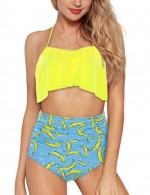 Enthralling Yellowish Brown Banana Printed Halter Beachwear High Waist