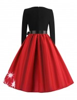 Socialite Red Long Sleeves Skater Dresses Reindeer Pattern Online
