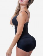 Curve-Creating Black Large Size Ruched Body Shaper Crotchless Best Tummy