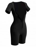 Abdominal Control Black Big Size Neoprene Short Sleeve Bodysuit Zipper Elastic
